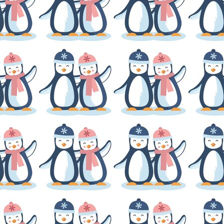 Vector cute penguin in winters vertical lines seamless pattern background on white surface. Great use for kids fashion, fabric, wallpaper, gift-wrap, scrapbooking paper etc.