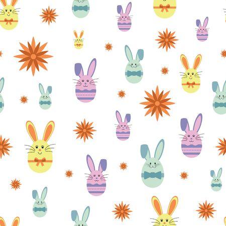 Vector cute egg bunnies with sunflower seamless