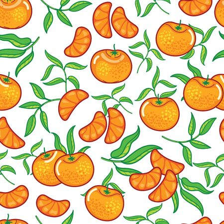 Vector ornage with peeled pieces seamless pattern background on white surface. Great use for fabric, wallpaper, giftwrap, food packaging projects etc.
