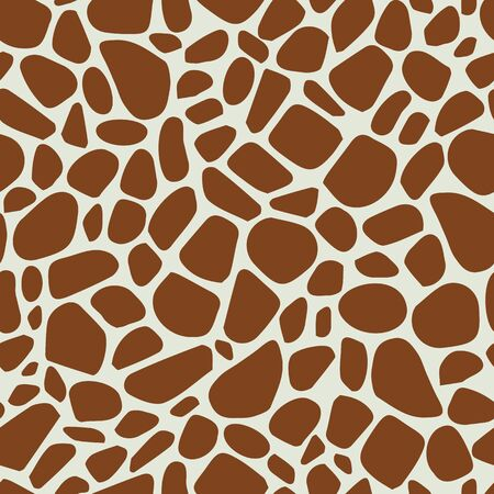 Vector beige and brown color giraffe skin texture seamless pattern background Ilustrace