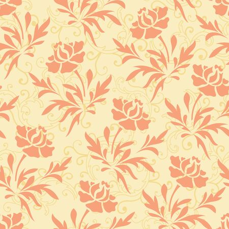 Vector pastel ornage and yellow rose flower with bail seamless pattern background