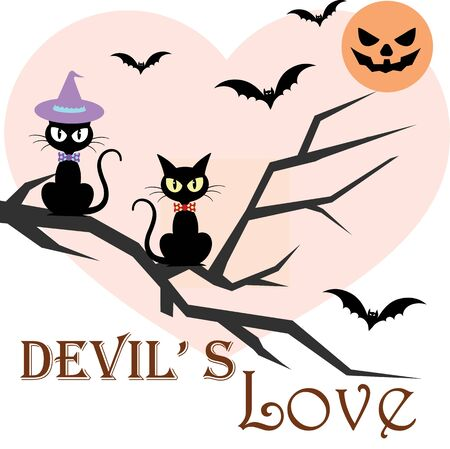 Vector halloween holiday illustration greeting with devil couple cats at bloody moon night
