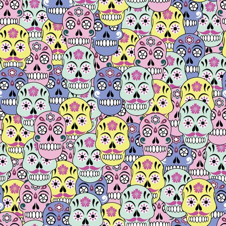 Vector colorful halloween sugar skull seamless pattern background