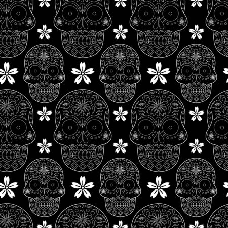 Vector gothic black and white sugar skull with flower seamless pattern background Vettoriali