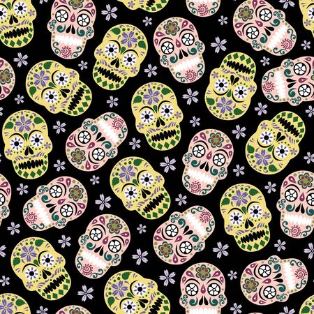 Vector gothic pastel colored sugar skull with flower seamless pattern background Vettoriali