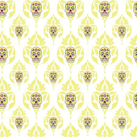 Vector gothic pastel yellow sugar skull with damask seamless pattern background on white surface Ilustração