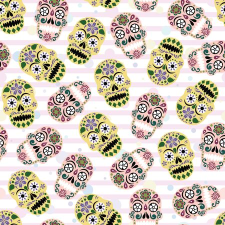 Vector gothic pastel colored sugar skull with stripes and polka dots seamless pattern background. Perfect use for fabric, wallpaper, greeting, wrapping paper etc. Imagens - 147889677