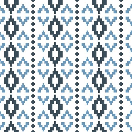 Vector pastel blue tribal geometric with dots seamless pattern background