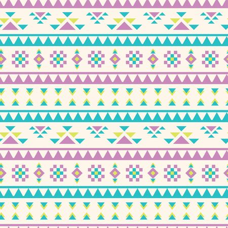 Vector pastel tribal geometric shapes seamless pattern background