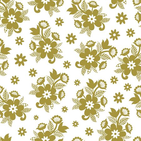 Beautiful vector pastel green flower bunch seamless pattern background on white surface