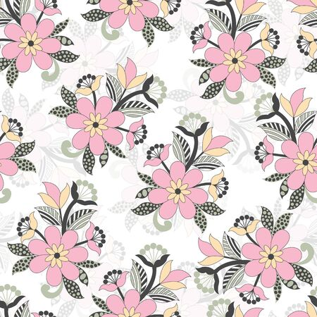 Beautiful vector pastel color flower bunch seamless pattern background on white surface