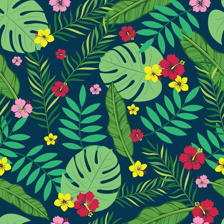 Beautiful vector hibiscus, plumeria flower with tropical leaves in a trendy color style seamless pattern background. Best use for fabric, hawaiian projects, wallpaper, home decor products and many more.