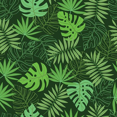 Vector green tropical palm and jungle leaves seamless pattern background. Great use for fabric, wallpaper, home decor, upholstery fabric, giftwrap etc. Vettoriali