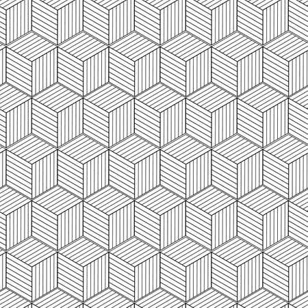 Vector linear 3D shape box seamless pattern background on white surface Vettoriali