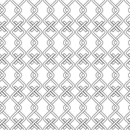 Vector linear interlaced rope seamless pattern background on white surface Vettoriali