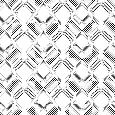 Vector abstract linear wave seamless pattern background on white surface. Vettoriali