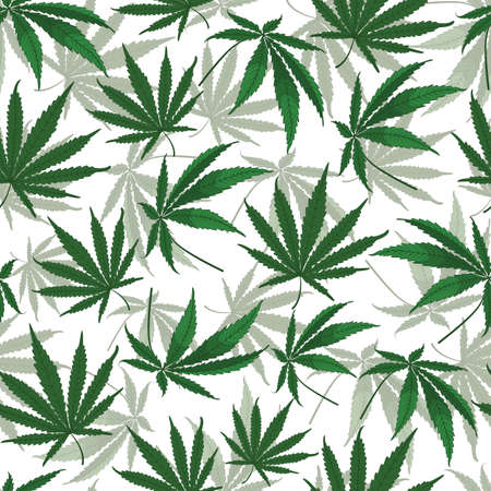 Vector marijuana hemp leaves seamless pattern background on white surface. Great use for wellbeing, fabric, wallpaper, packaging projects, medical projects etc.