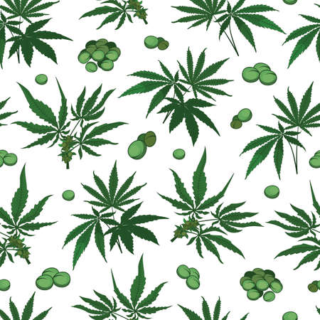 Vector marijuana hemp leaves with seeds seamless pattern background on white surface. Great use for wellbeing, fabric, wallpaper, packaging projects, medical projects etc. Vettoriali