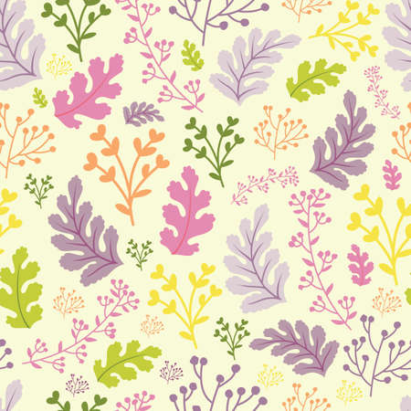 Vector pastel multicolour botanical leafs seamless pattern background