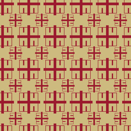 Vector golden and red color geometric block seamless pattern background Vettoriali