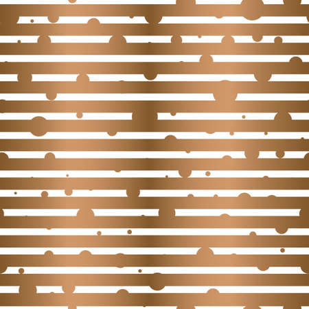 Vector geometric golden polka dots with horizontal lines seamless pattern background 矢量图像