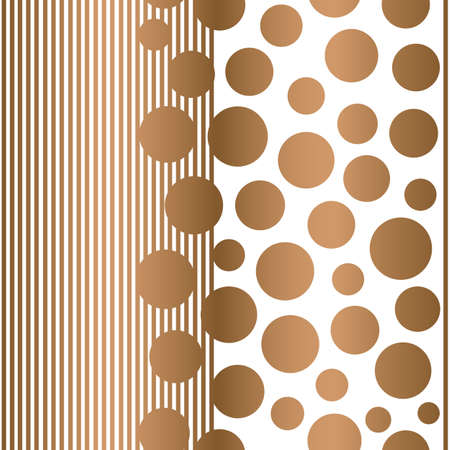 Vector geometric golden polka dots with vertical lines seamless pattern background