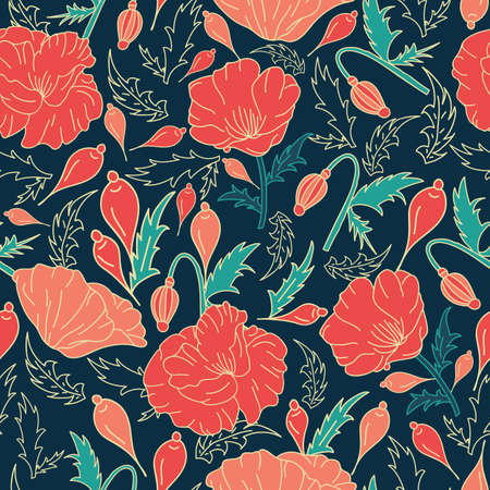 Vector hand drawn pink poppy flowers, bud with green leaves seamless pattern background on dark green surface Vettoriali