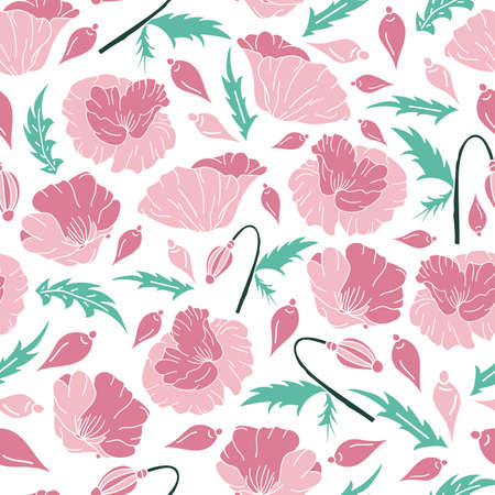 Vector hand drawn baby pink poppy flowers, bud with green leaves seamless pattern background on white surface