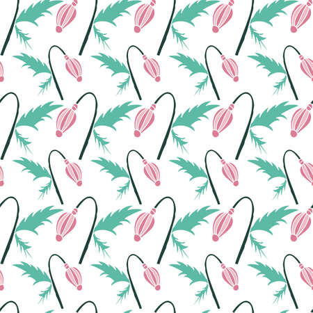 Vector hand drawn baby pink poppy bud with green leafs and stem seamless pattern background on white surface Vettoriali