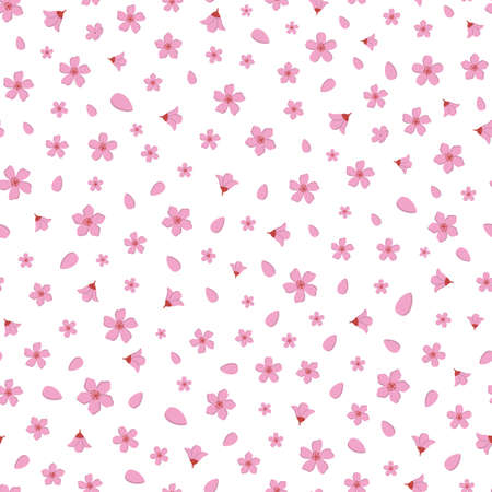 Vector beautiful pink cherry blossom flowers and petal seamless pattern background on white surface. Great use for fabric, wallpaper, giftwrap, home decor items, wellbeing etc.