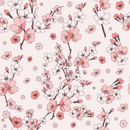 Vector pretty pink cherry blossoms seamless pattern background. Great use for fabric, wallpaper, giftwrap, home decor items, wellbeing etc.