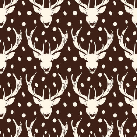 Vector reindeer head with skin texture seamless pattern background on brown surface. Perfect use for fabric, wallpaper, giftwraps for christmas, home decor etc. Vettoriali