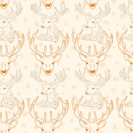 Vector reindeer head with skin texture seamless pattern background on light brown surface. Perfect use for fabric, wallpaper, giftwraps for christmas, home decor etc.