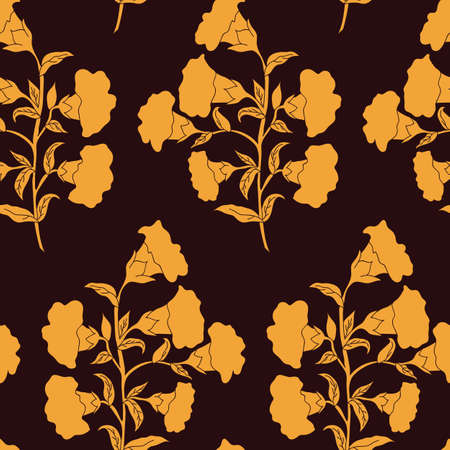 Vector trendy monochrome flower bunch seamless pattern background on brown surface. Perfect use for fabrics, wallpapers, trending projects etc.