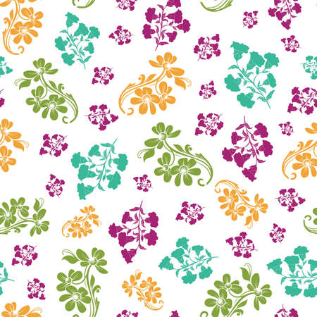 Vector colorful trendy monochrome flowers seamless pattern background on white surface. Perfect use for fabrics, wallpapers, trending projects etc.