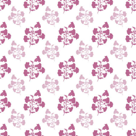 Vector trendy monochrome bold purple flower bunch seamless pattern background on white surface. Perfect use for fabrics, wallpapers, trending projects, etc.