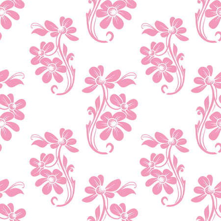 Vector trendy monochrome baby pink petal flower bunch seamless pattern background on white surface. Perfect use for fabrics, wallpapers, trending projects etc.
