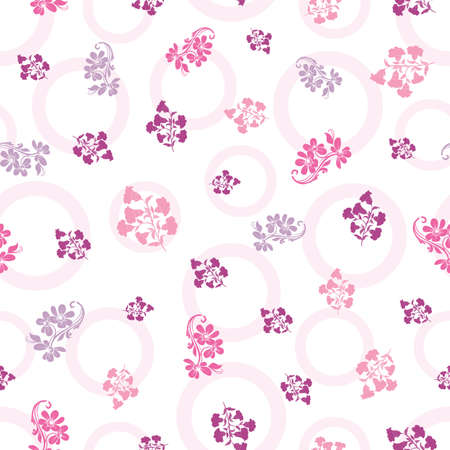 Vector trendy monochrome flowers seamless pattern background on polka doted surface. Perfect use for fabrics, wallpapers, giftwraps, trending projects, packaging etc.