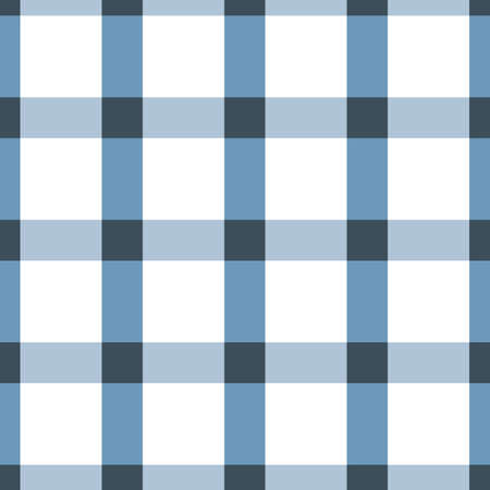 Vector blue and white colored plaid or check seamless pattern background. Good use for fabric, wallpaper, kitchen towel, home decor etc.
