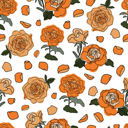 Vector orange and green colored roses and petals seamless pattern background on white surface. Great use for textile, wallpaper, wrapping paper etc.