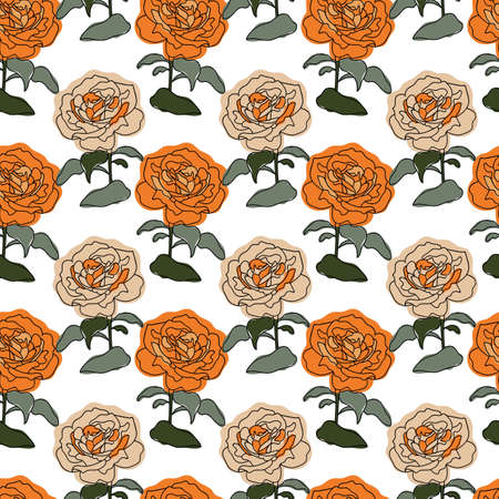 Vector orange and green colored rose stripes seamless pattern background on white surface. Great use for textile, wallpaper, wrapping paper etc. Vettoriali