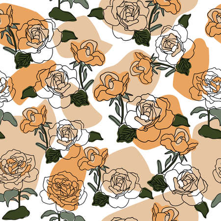 Vector beautiful roses on geometric shape seamless pattern background on white surface. Great use for textile, wallpaper, wrapping paper etc. Vettoriali