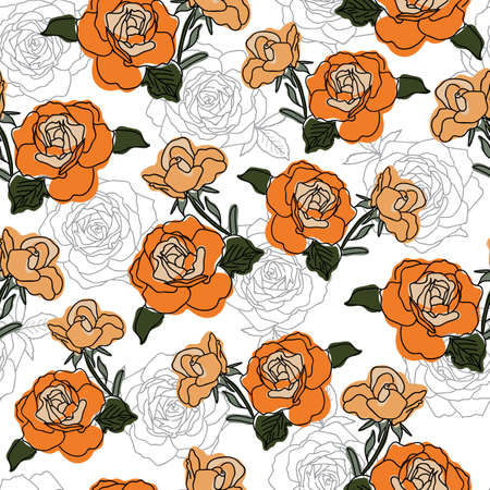 Vector orange and green colored roses with rose texture seamless pattern background on white surface. Great use for textile, wallpaper, wrapping paper etc.