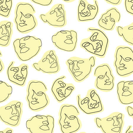 Vector one line drawing abstract face seamless pattern background. Good use for fabric, textile, wallpaper etc. Vettoriali