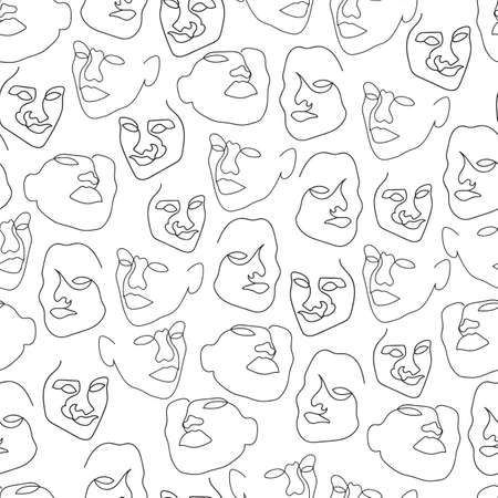 Vector black and white one line drawing abstract face seamless pattern background. Good use for fabric, textile, wallpaper etc.