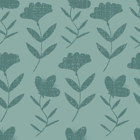 Vector green monochorme flowers with texture seamless pattern background with blooming branch. Great use for fabric, wallpaper, giftwrap, wrapping paper and many more.
