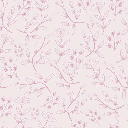 Vector purple monochorme flowers with blooming branch seamless pattern background. Great use for fabric, wallpaper, giftwrap, wrapping paper, kids clothing and many more.