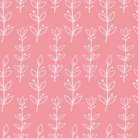 Vector pink small floral blooming branch with texture seamless pattern background. Great use for fabric, wallpaper, giftwrap, wrapping paper, kids clothing and many more.