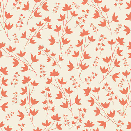 Vector saffron monochorme flower brunch seamless pattern background. Great use for fabric, wallpaper, giftwrap, wrapping paper and many more.