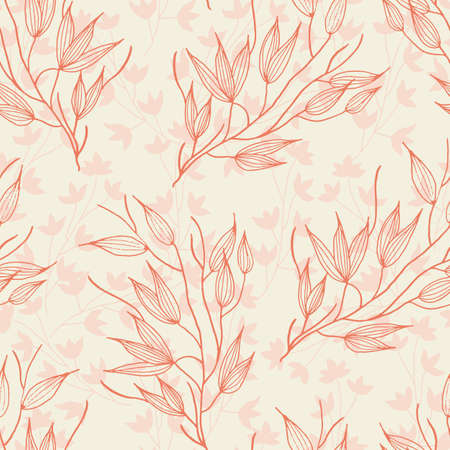 Vector saffron and peach flowers brunch seamless pattern background. Great use for fabric, wallpaper, giftwrap, wrapping paper and many more.
